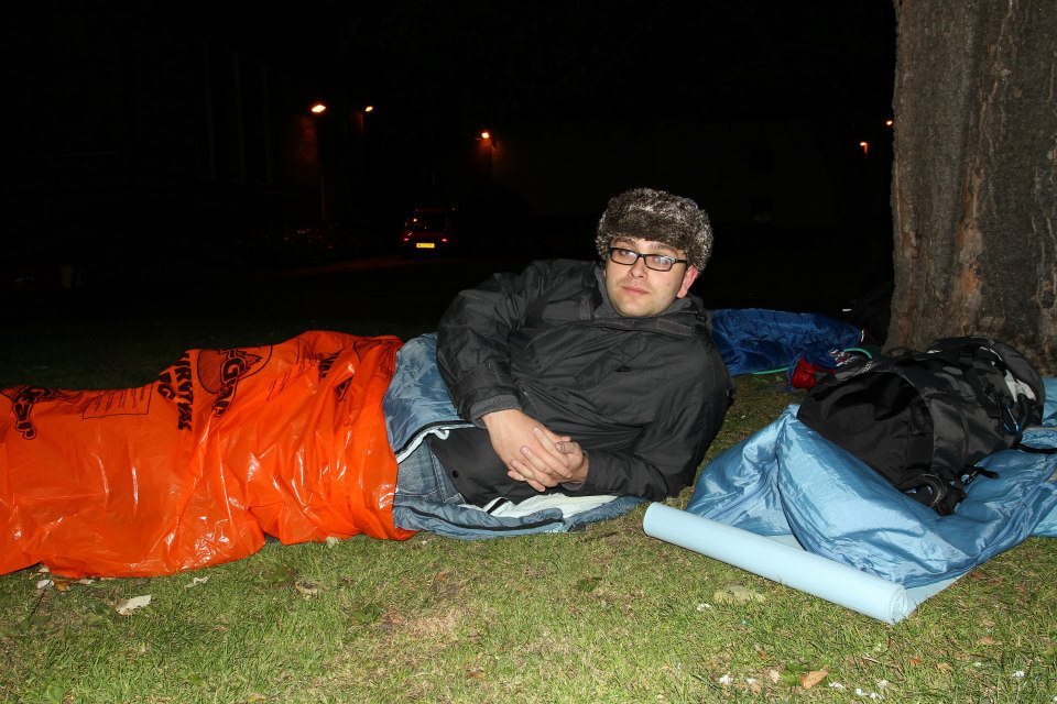Me lovely and cosy in my survival bag