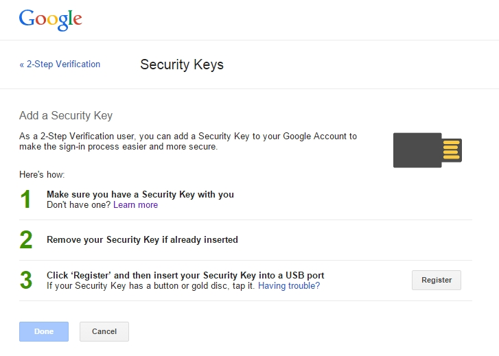 Google security keys