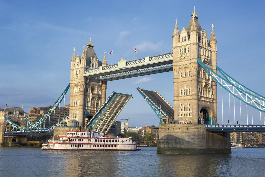LONDON UNITED KINGDOM - APRIL 13: Tower Bridge in London on April 13 2015. Famous Tower Bridge at Thames RIver in London United Kingdom.